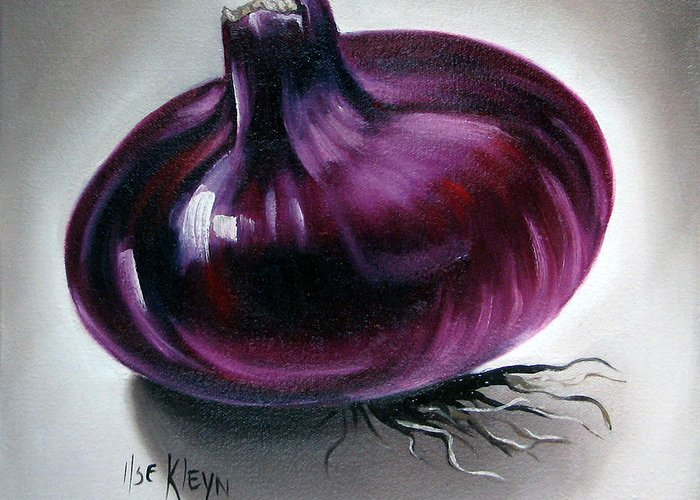 Kitchen Greeting Card featuring the painting Onion by Ilse Kleyn