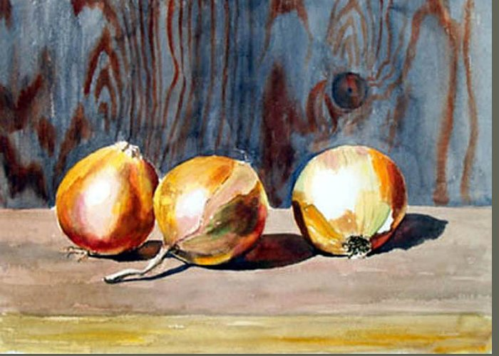 Still Life Greeting Card featuring the print Onions In The Sun by Anne Trotter Hodge