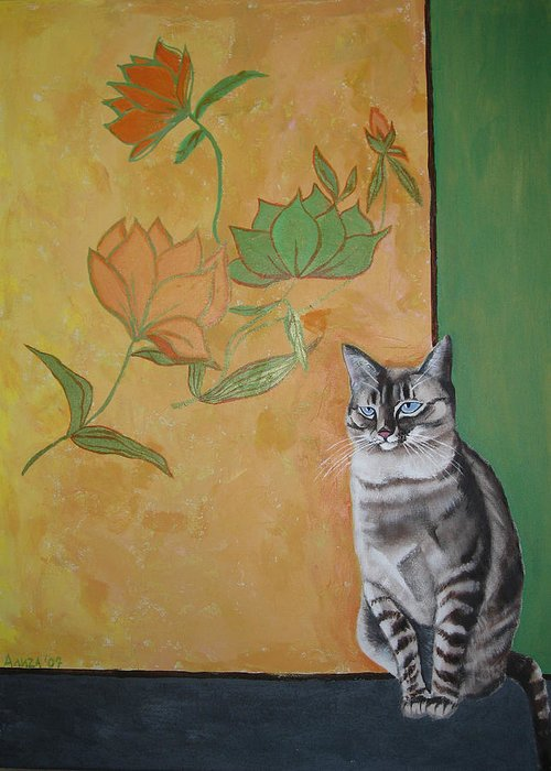 Cat Greeting Card featuring the painting Oomka by Aliza Souleyeva-Alexander
