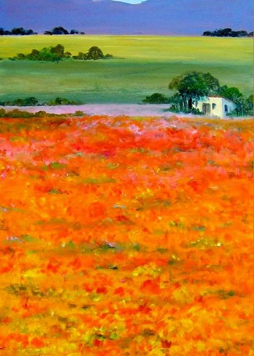 Landscape Greeting Card featuring the painting Oopsa Daisy by Liz McQueen