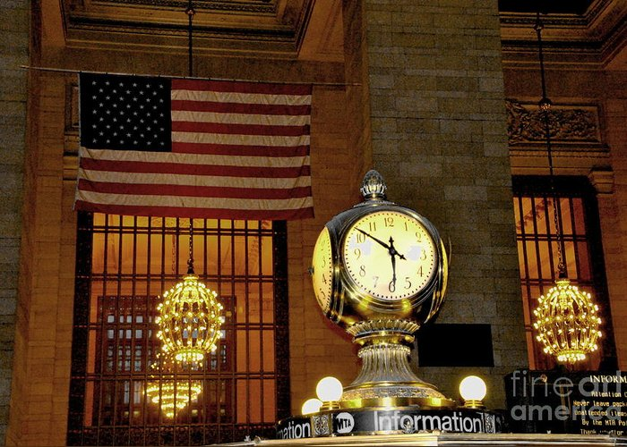 New York Greeting Card featuring the photograph Opal Atomic Clock At Grand Central by Jacqueline M Lewis