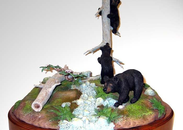 Sculpture Greeting Card featuring the sculpture Opal Creek Bears by Carl Capps