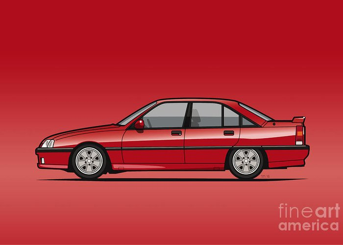 Car Greeting Card featuring the digital art Opel Omega A, Vauxhall Carlton 3000 Gsi 24v Red by Monkey Crisis On Mars