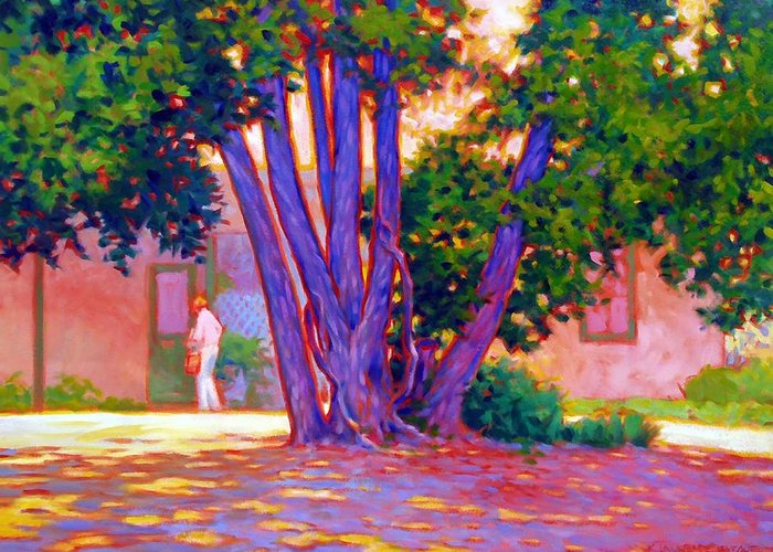 Tree Greeting Card featuring the painting Open For Business by Kevin Lawrence Leveque