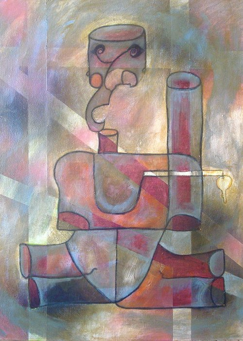 Abstract Greeting Card featuring the painting Open by W Todd Durrance