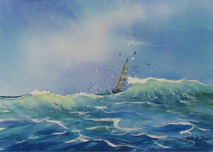 Watercolor Painting Greeting Card featuring the painting Open Waters by Laura Lee Zanghetti
