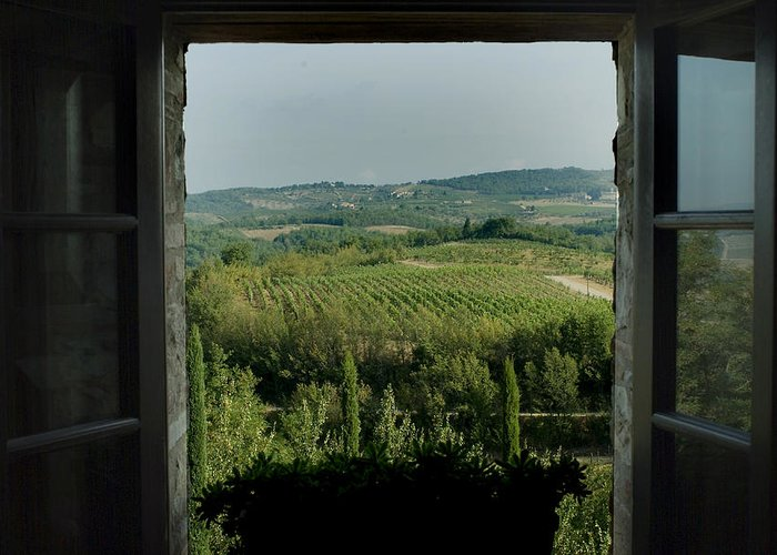 Windows Greeting Card featuring the photograph Open Window Looking Out On The Tuscan by Todd Gipstein
