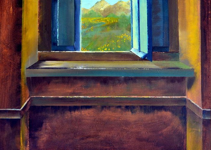 Trompe L'oeil Greeting Card featuring the painting Open Window by Michelle Calkins