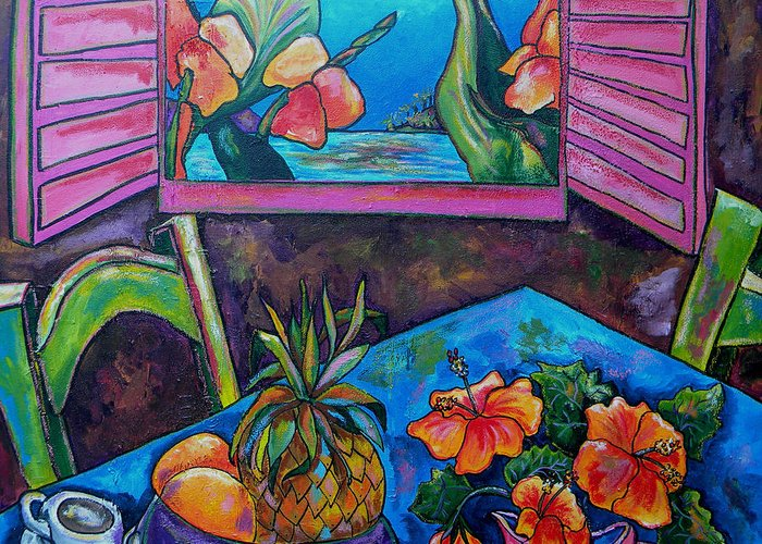 Tropical Greeting Card featuring the painting Open Window by Patti Schermerhorn