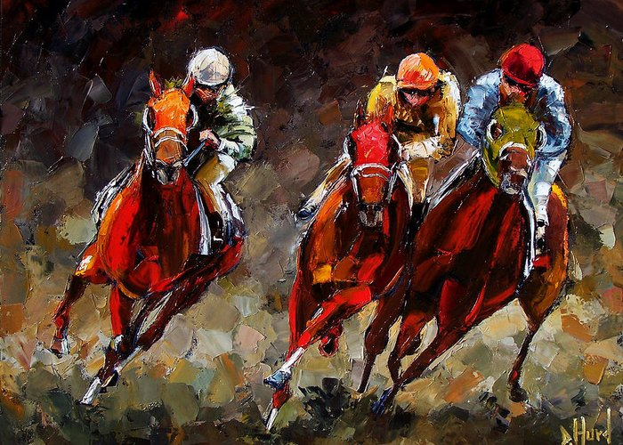 Horse Race Greeting Card featuring the painting Opening Day by Debra Hurd