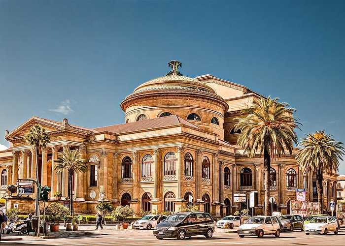 Architecture Greeting Card featuring the photograph Teatro Massimo Vittorio Emanuele by Maria Coulson