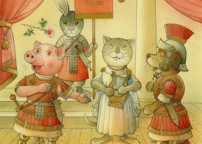 Opera Singer Animals Cat Pig Dog Rabbit Giulio Cesare Greeting Card featuring the painting Opera by Kestutis Kasparavicius