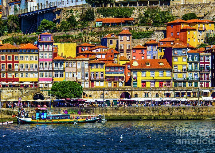 Porto Greeting Card featuring the photograph Oporto By The River by Roberta Bragan