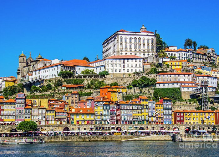 Porto Greeting Card featuring the photograph Oporto Riverfront by Roberta Bragan