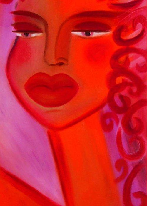 Women Artwork Greeting Card featuring the painting Oprah by Helen Gerro