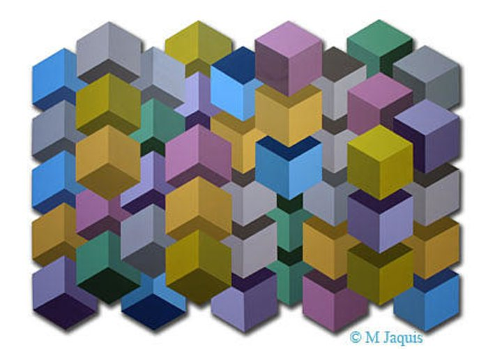 Greeting Card featuring the painting Optic Cube Series 8 by M Jaquis