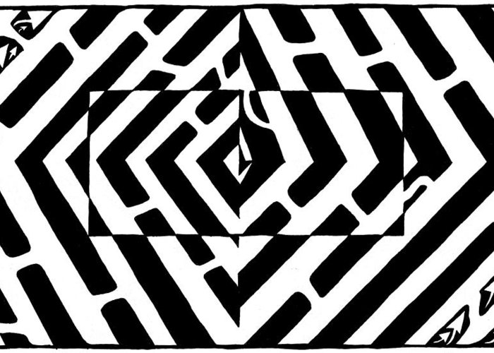 Optical Illusion Greeting Card featuring the drawing Optical Illusion Maze Of Floating Box by Yonatan Frimer Maze Artist