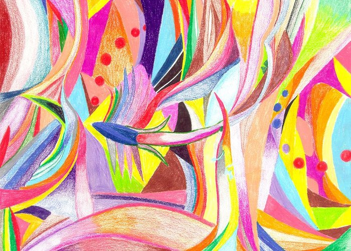 Abstract Greeting Card featuring the drawing Optimism by Peter Shor