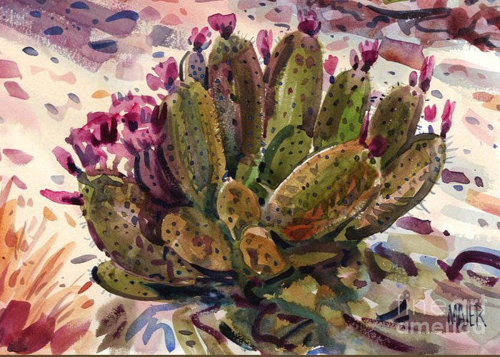 Opuntia Cactus Greeting Card featuring the painting Opuntia Cactus by Donald Maier