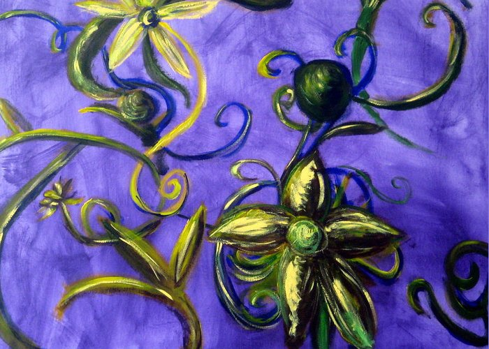 Vines Greeting Card featuring the painting Opus Five by Rebecca Merola