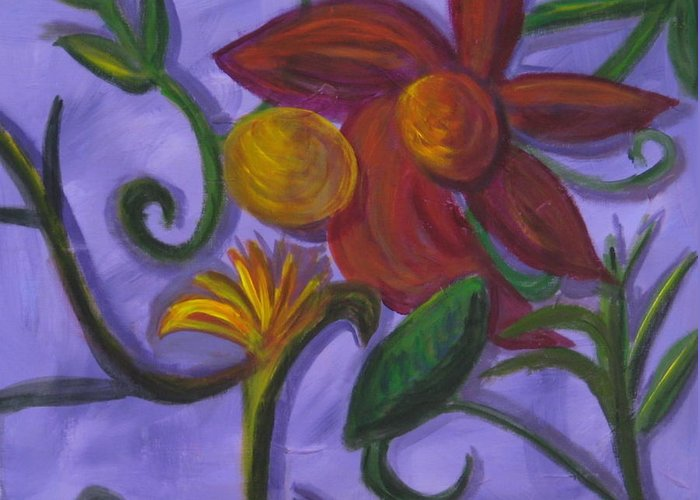 Flower Greeting Card featuring the painting Opus Six by Rebecca Merola
