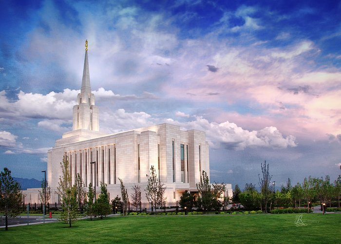 Oquirrh Mt Greeting Card featuring the photograph Oquirrh Mt Temple by La Rae Roberts