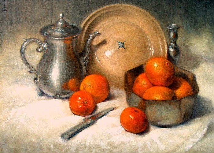 Realism Greeting Card featuring the painting Orange And Gray by Donelli DiMaria