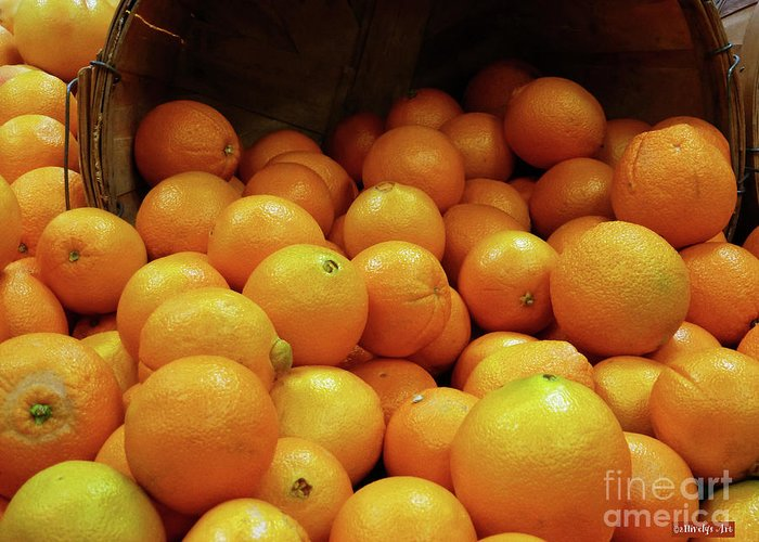 Orange Basket Greeting Card featuring the photograph Orange Basket by Methune Hively