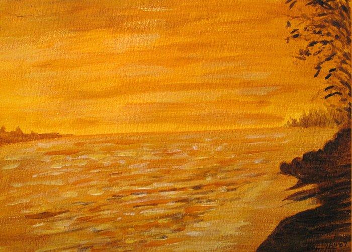 Ocean Greeting Card featuring the painting Orange Beach by Ian MacDonald