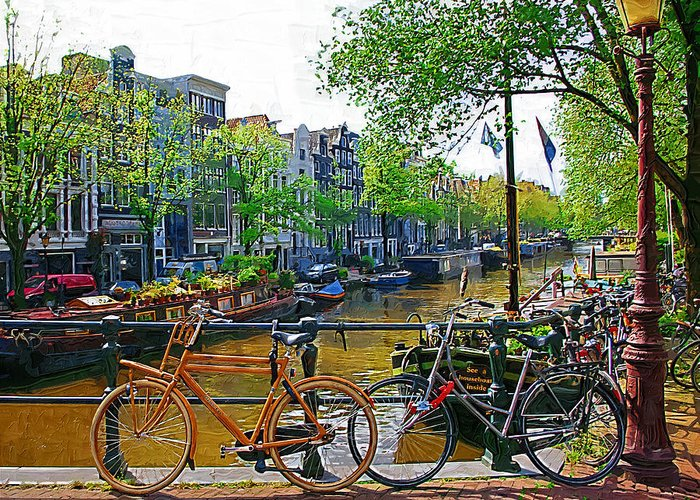 Bike Greeting Card featuring the photograph Orange Bike by Tom Reynen