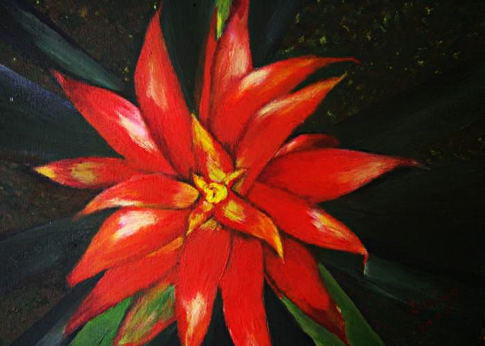 Floral Greeting Card featuring the painting Orange blossom by Julie Lamons