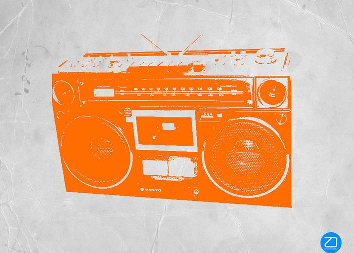 Greeting Card featuring the painting Orange Boombox by Naxart Studio