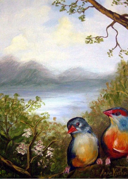 Birds Greeting Card featuring the painting Orange Breasted Waxbills by Anne Kushnick