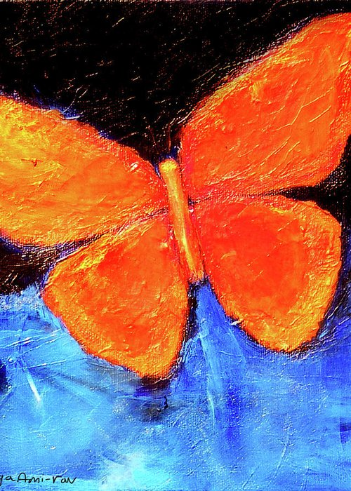 Butterfly Greeting Card featuring the painting Orange Butterfly by Noga Ami-rav