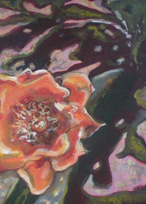 Orange Greeting Card featuring the painting Orange Cactus Blossom by Aleksandra Buha