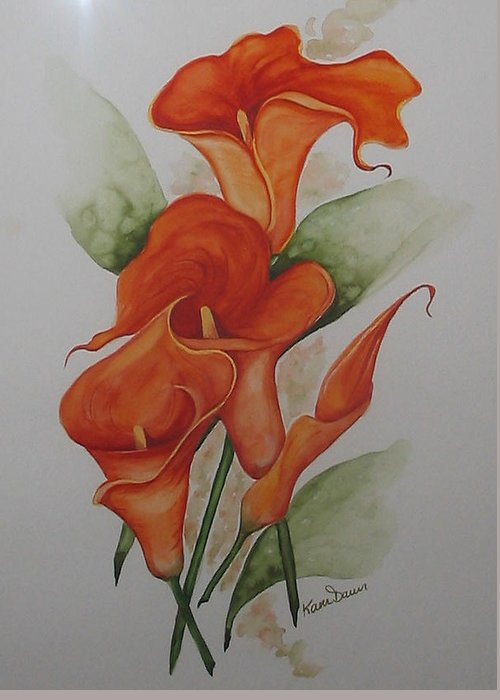 Floral Orange Lily Greeting Card featuring the painting Orange Callas by Karin Dawn Kelshall- Best