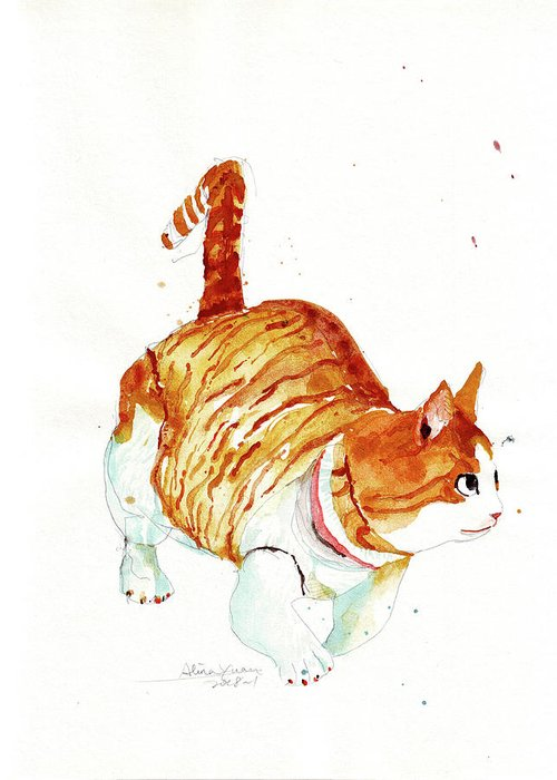 Cat Greeting Card featuring the painting Orange Cat by Alina Yuan