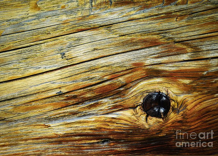 Exterior Greeting Card featuring the photograph Orange Colored Old Wooden Board by Jozef Jankola