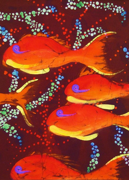 Tropical Fish Greeting Card featuring the tapestry - textile Orange Coral Reef Fish by Kay Shaffer