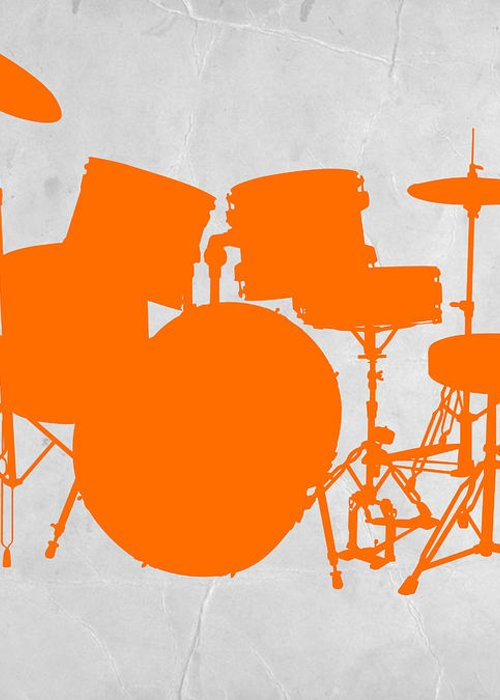 Drums Greeting Card featuring the photograph Orange Drum Set by Naxart Studio
