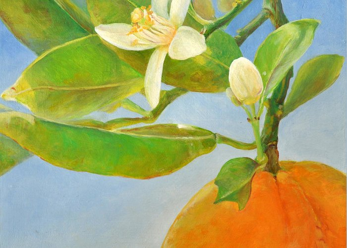 Acrylic Painting Greeting Card featuring the painting Orange en Coin by Muriel Dolemieux