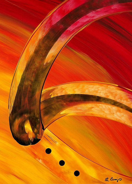 Abstract Art Greeting Card featuring the painting Orange Expressions by Sharon Cummings