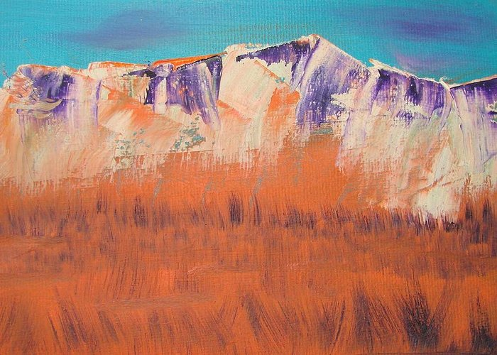 Mountains Greeting Card featuring the painting Orange Grass by Liz Vernand