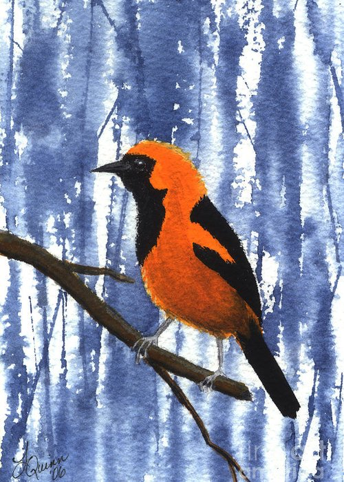 Bird Greeting Card featuring the painting Orange-headed Oriole by Lynn Quinn