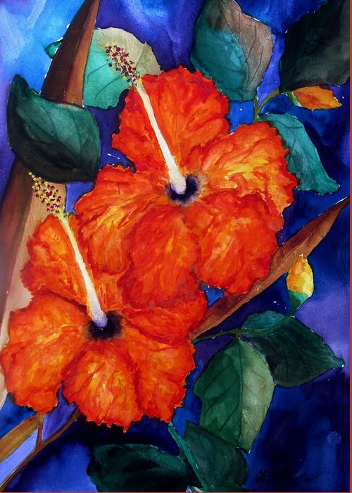 Greeting Card featuring the painting Orange Hibiscus by Lil Taylor