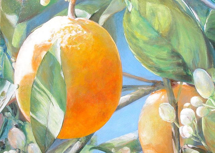 Floral Painting Greeting Card featuring the painting Orange by Muriel Dolemieux
