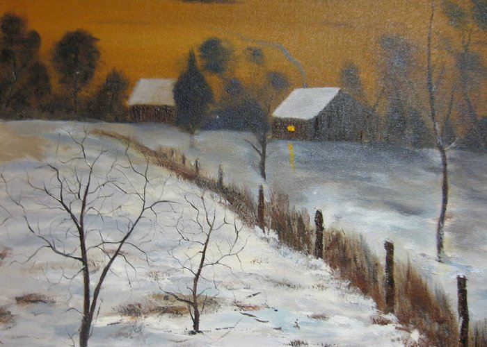 Landscape Greeting Card featuring the painting Orange Night by Brian Hustead