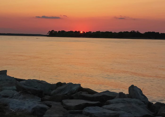 Delaware Greeting Card featuring the photograph Orange Nite Sky by Amy Bishop