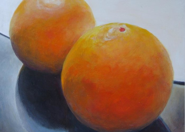 Acrylic Greeting Card featuring the painting Orange Noir et Blanc by Muriel Dolemieux