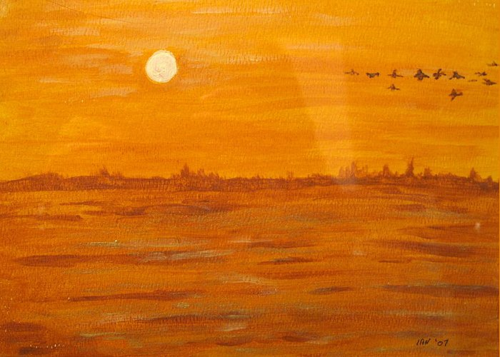 Orange Greeting Card featuring the painting Orange Ocean by Ian MacDonald